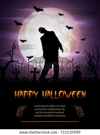 Halloween background with zombie walking out from grave #722120989
