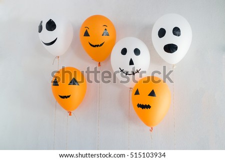 Halloween balloons decorated on white, stock photo #515103934