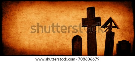 Halloween banner with old paper texture and medieval stone crosses, tombstones in a cemetery. Toned in orange color. Copy space for your text