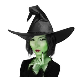 Halloween. Beautiful witch in a hat on a white background.