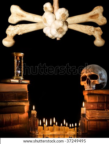 Halloween border with skull, ancient books and candles