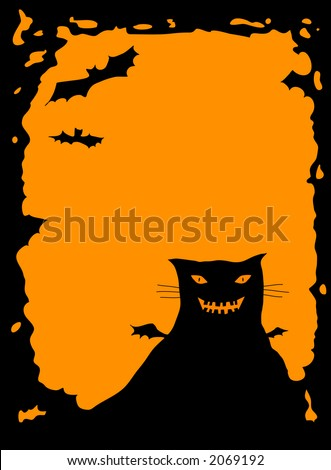 Halloween border with spooky cat