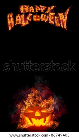 Halloween burning pumpkin on black background