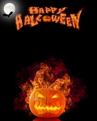 Halloween burning pumpkin with free space for text