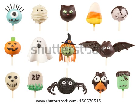 Halloween cake pops isolated on white #150570515