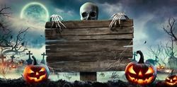 Halloween Card Party - Pumpkins And Zombies In Graveyard With Wooden Board