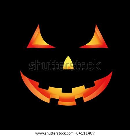 Halloween card with glowing scary pumpkin