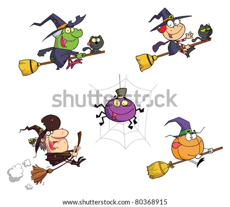 Halloween Cartoon Characters-Raster Collection.Vector version is also available
