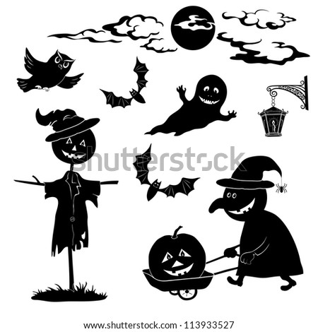 Halloween cartoon, set black silhouette on white background: witch and pumpkin in trolley, ghost, owl, bat, scarecrow, lantern, moon and clouds