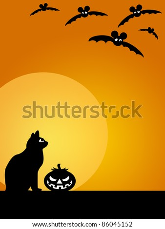 Halloween Carved Pumpkin Black Cat Moon and Flying Bats Illustration