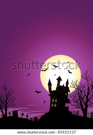 Halloween Castle/ Illustration of a spooky haunted castle on hill inside Halloween landscape