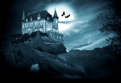 halloween castle with moon, night