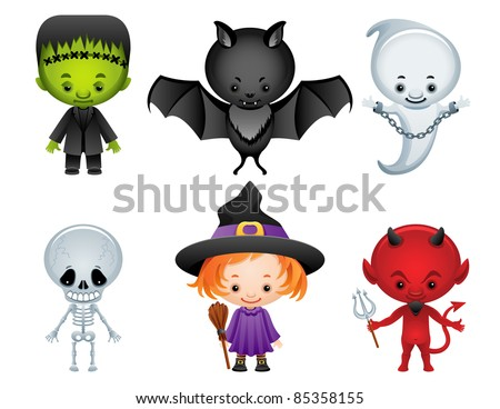 Halloween characters icon set - raster version