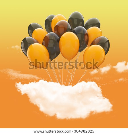 Halloween concept- Bunch of black and orange balloons holding cloud into the orange sky background