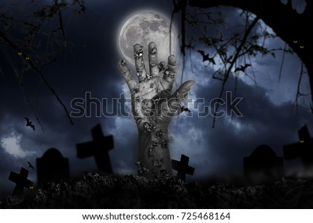 Halloween concept, zombie hand rising out from the ground #725468164