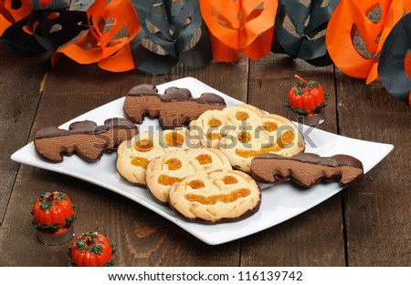 Halloween cookies in white dish