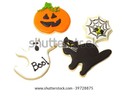 Halloween cookies on a white back ground