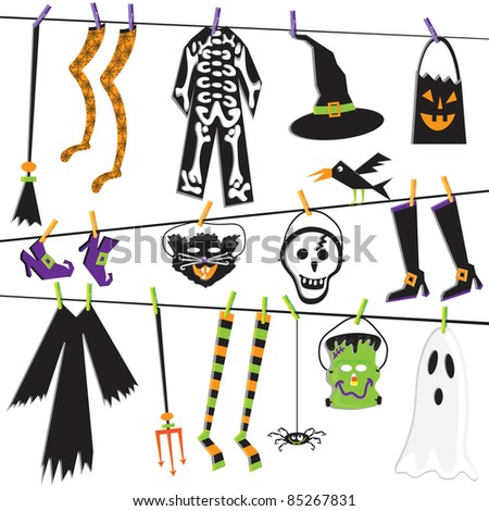 Halloween Costume Clothesline Clip Art Isolated on white