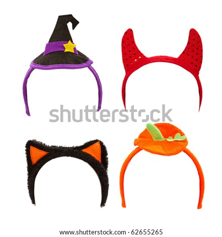 Halloween costume headbands including a witch hat, devil horns, cat ears and a pumpkin top