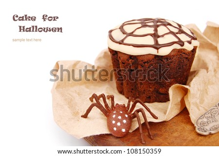 Halloween cupcake with a  spider web and spider