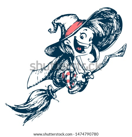 Halloween cute witch flying on her broom outlines. Illustration. Hand drawn strokes outlined