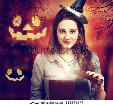Halloween Cute Witch Opening a Box