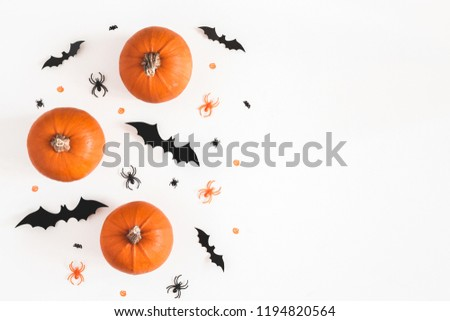 Halloween decorations on white background. Halloween concept. Flat lay, top view, copy space #1194820564