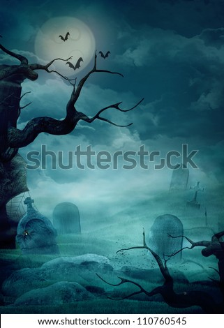 Halloween design background with spooky graveyard, naked trees, graves and bats and Copyspace - stock photo