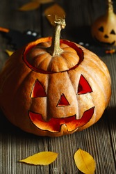 Halloween design with pumpkins. Horrible symbol of Halloween - Jack-o-lantern. Scary head of pumpkin with flame and a few small painted gourds. Glowing face, trick or treat. Halloween DIY