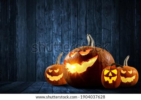 Halloween design with pumpkins . Mixed media Foto stock ©