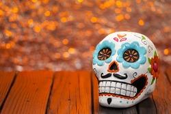 Halloween Dia De Los Muertos  Celebration Background With Sugar Skull. Selective Focus With Copy Space.