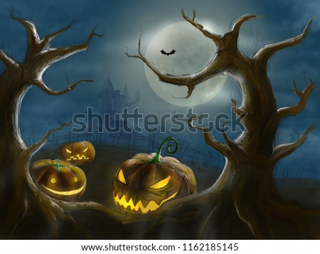 Halloween drawing paint comic art three pumpkin foreground under the spooky tree forest and witch castle house on background 2d illustrate.