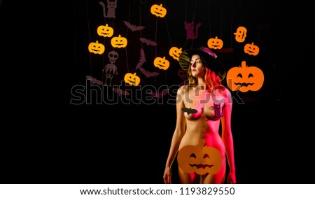 Halloween dresses and witch costumes and witch hats. Witch hat. Happy Halloween Quotes for Spooky Fun. 31 october. Happy Halloween Stickers. Sexy woman on Halloween background #1193829550