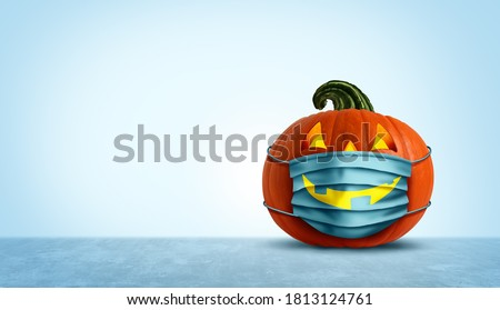 Halloween facial mask as a jack o lantern pumpkin wearing a medical face protection as a symbol for disease control and virus infection and coronavirus or covid-19 safety in a 3D illustration style.