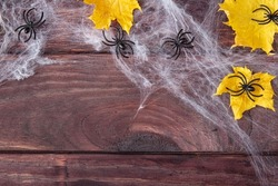 Halloween frame composition. Yellow dried leaves, black spiders on web on dark wooden background. Copy space. Flat lay