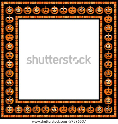 Halloween frame with funny pumpkins on black background - stock photo