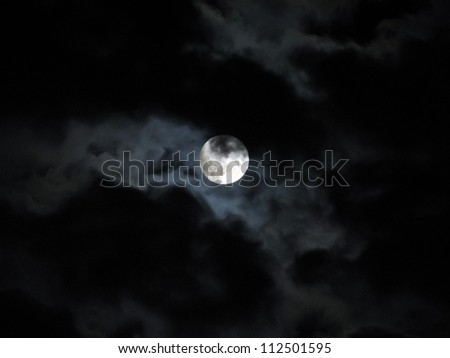 Halloween full moon in pitch black dark skies with clouds