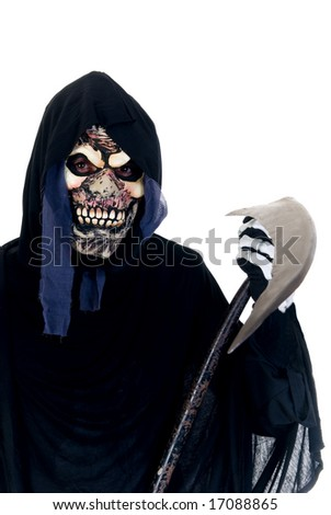 Halloween, fun and creepy, grim reaper on white background