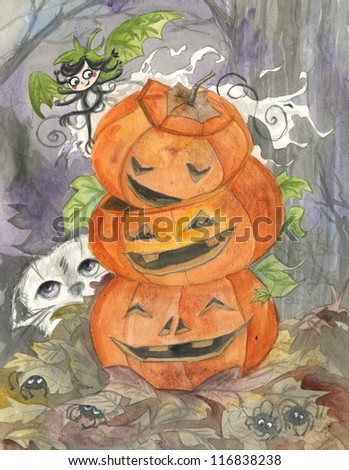 Halloween ghost and jack-o-lanterns watercolor