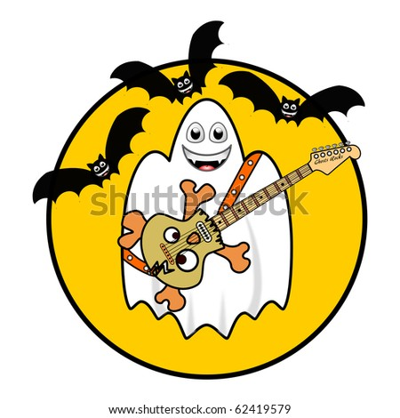 Halloween Ghost Playing Guitar under Bats