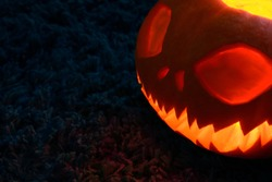 halloween glowing pumpkin in the dark