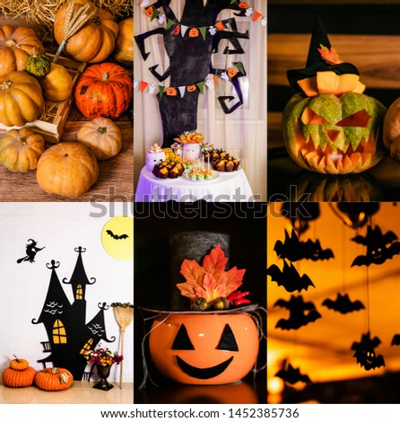 Halloween glowing pumpkins collage, holiday background, curved decoration creative design, traditional jack o lantern candles.