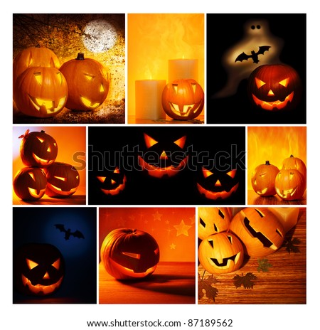 Halloween glowing pumpkins collage, holiday background, curved decoration creative design, traditional jack o lantern candles