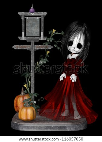 Halloween Goth Girl: a stitched up zombie goth girl in a red dress and  choker necklace standing on a corner with pumpkins. Isolated on a black background