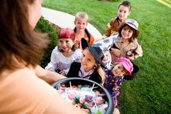 Halloween: Group Of Kids Want Halloween Candy