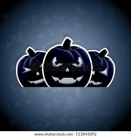 Halloween grunge background with pumpkins, illustration.