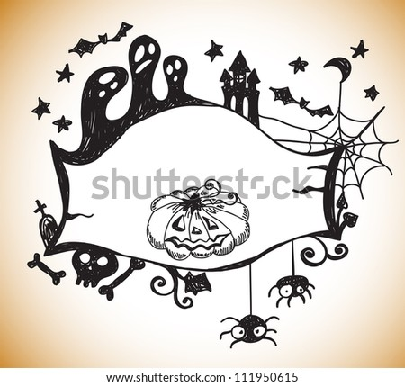 Halloween hand drawn background with place for text