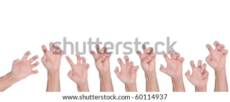 Halloween hand gesture set, isolated on white - stock photo