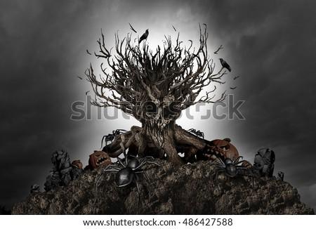 halloween haunted creepy tree...