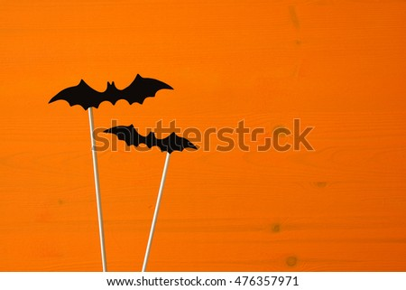Halloween holiday concept. Funny paper bats